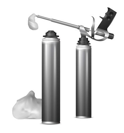 caulk: Mock Up template bottle pu foam for design. Vector  illustration Illustration