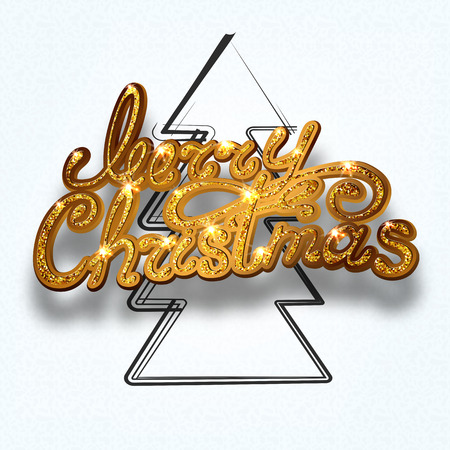 paper textures: Gold glitter Merry Christmas  lettering design message