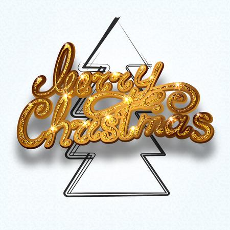 Gold glitter Merry Christmas  lettering design message