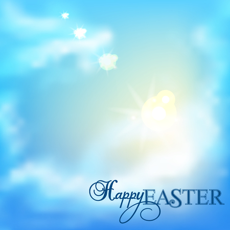 Easter background.The sky with clouds. Çizim