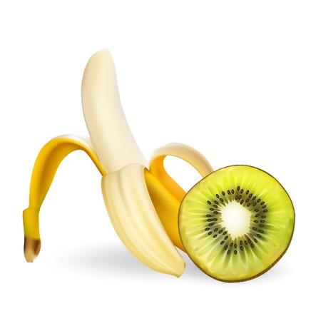 Banana and kiwi vector realistic illustration