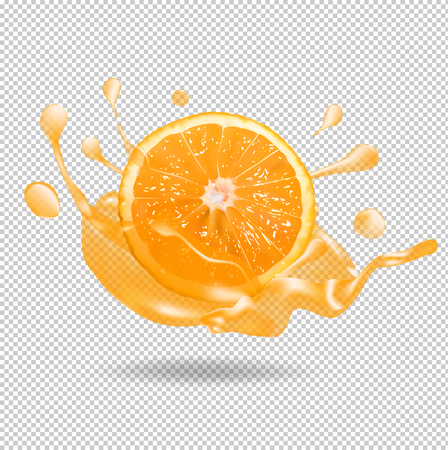 Orange fruit juice splash. 3d vector realistic illustration 向量圖像