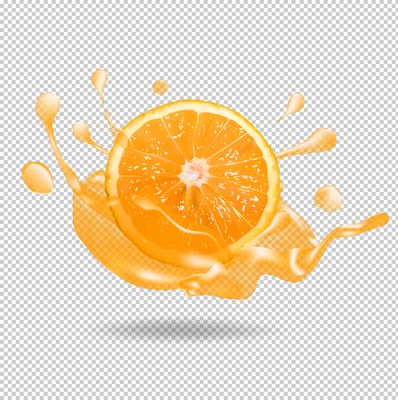 Orange fruit juice splash. 3d vector realistic illustration Illustration