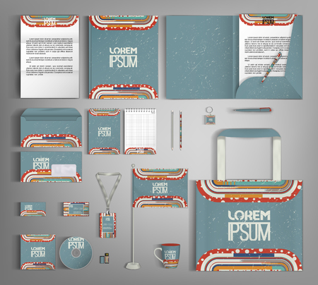 Retro corporate identity template design with colorful lines. Business set stationery.
