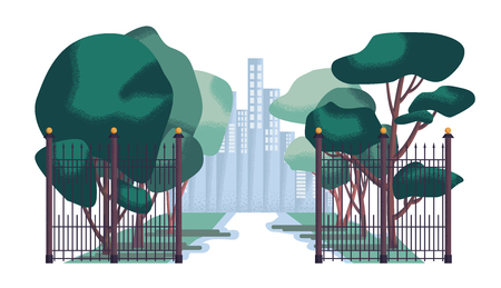 City park vector illustration. Green landscape in flat design.