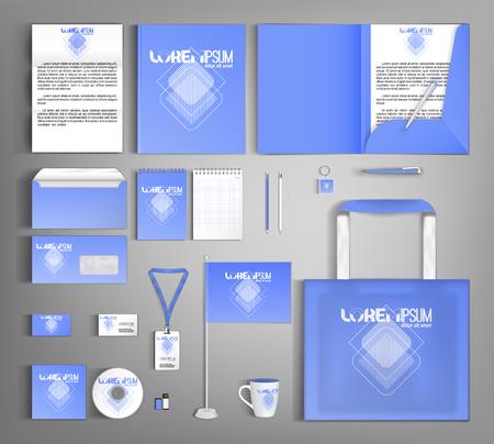 Identità aziendale blu con rombo bianco astratto, disegno del modello. Set di cancelleria aziendale.