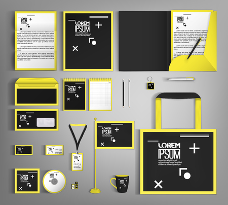 Corporate identity template design with a black and yellow color. Business set stationery.