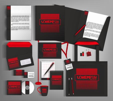 Diseño de plantillas de identidad corporativa de moda en negro y rojo. Ilustración de vector