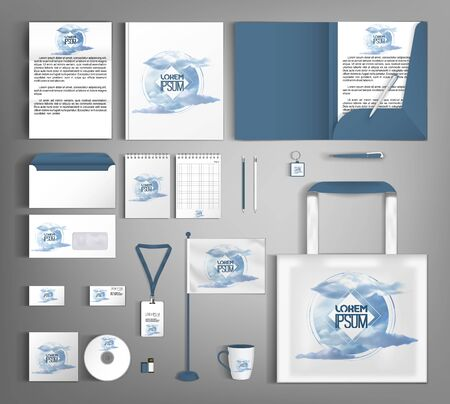 Vector design set of corporate identity. Stylish pattern with clouds.