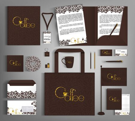 Modello di identità aziendale con grani e scritte dorate sul caffè