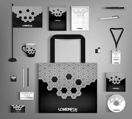 Black trendy corporate identity template design with white elements.