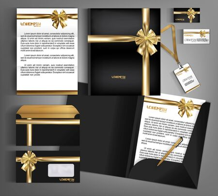 Black trendy corporate identity template design with gold bow.