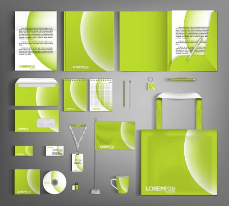 Green corporate identity design template with white circular element.