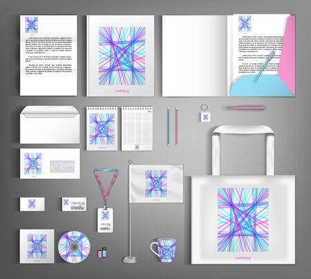 Corporate identity with an abstract composition of blue and pink lines.