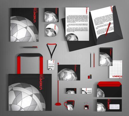Estilo corporativo negro con elemento semicircular gris. Juego de papelería comercial.