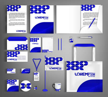 White and blue trendy corporate identity template design.