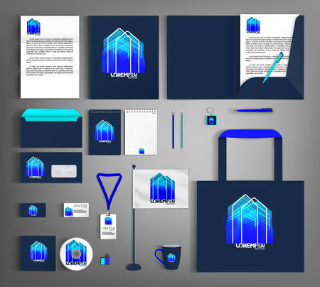 Blue corporate identity template with abstract house element. Business set stationery. Vettoriali