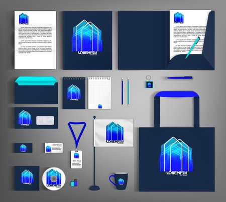 Blue corporate identity template with abstract house element. Business set stationery. Vektoros illusztráció
