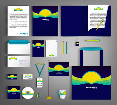Corporate identity template design with abstract book element.