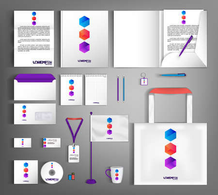 White corporate identity template design with geometric colorful object.