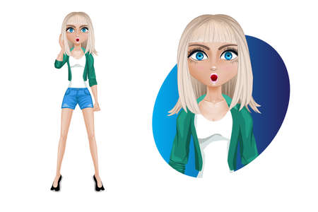Stylish young woman in shorts and a green jacket. A blonde with blue eyes. Pose- Stunned. Beautiful cartoon character modern. Vector illustration isolated on white background. Ilustração