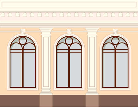 Facade of the building, one floor with windows and decorative elements of a column, balustrade. House architecture in classic style. Vector illustration in flat design isolated on white background.