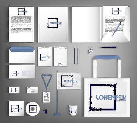 White corporate identity template with geometric black object. A set of business office supplies.