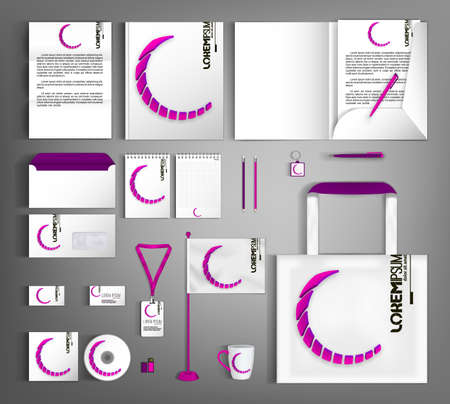 White corporate identity template with geometric pink object. Set of business office supplies.