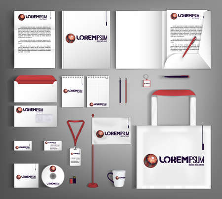 White corporate identity template with multicolored ball. Set of business office supplies with