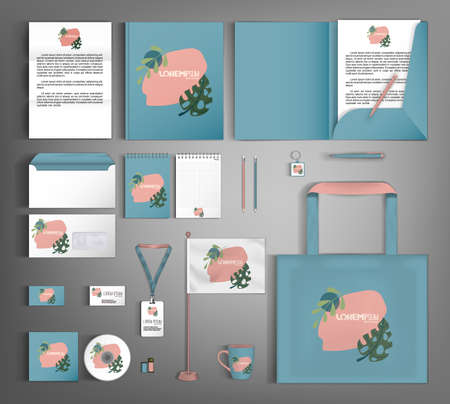 Corporate identity template with minimalist style floral ornament. Set of business office supplies.