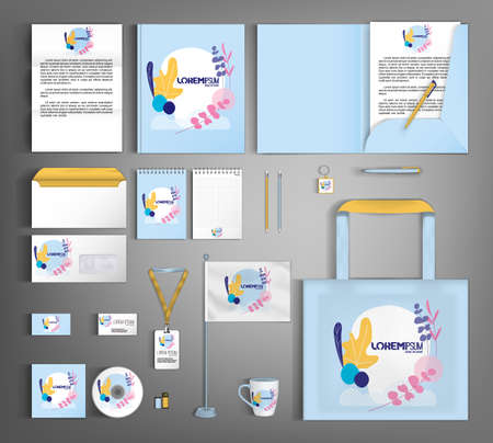 Corporate identity template with minimalist style floral ornament. Set of business office supplies. Vettoriali