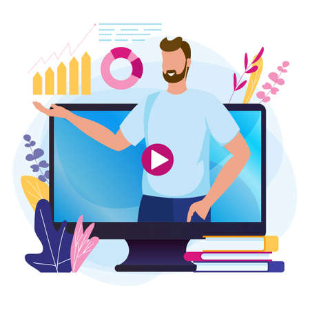 Online webinar. E-learning, training podcast concept with video lector man, business coaching. Illustration