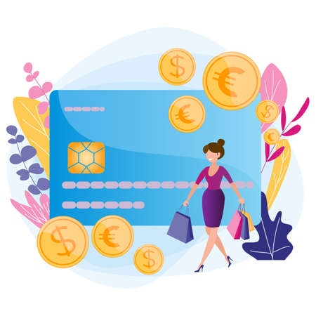 Plastic money, financial transactions, online shopping, credit and debit card, cashback service.