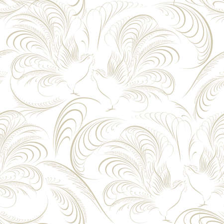 Seamless pattern with birds. Lightweight elegant design for fabric and wallpaper.
