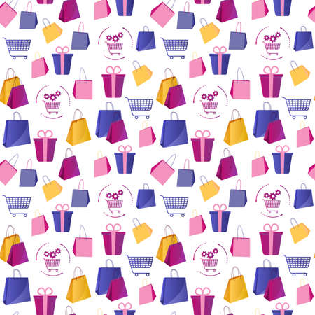Colorful seamless pattern with shopping. Illustration in flat style with boxes and packages