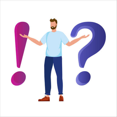 Metaphor question answer. Concept illustration of frequently asked questions of exclamation marks and question marks. Iillustration with a man and signs.