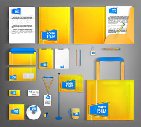 Bright yellow corporate identity template. Modern design of a set of business office supplies. Vecteurs