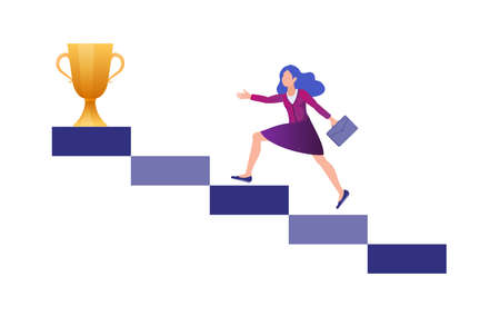 Business woman runs towards her goal along the column of columns, moving upward in motivation, the path to achieving the goal and rewards.