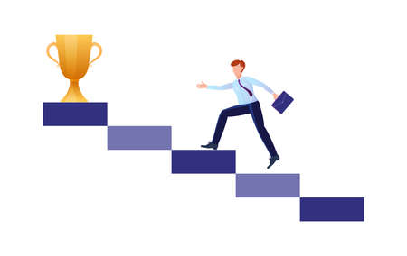 Business man runs towards her goal along the column of columns, moving upward in motivation, the path to achieving the goal and rewards.