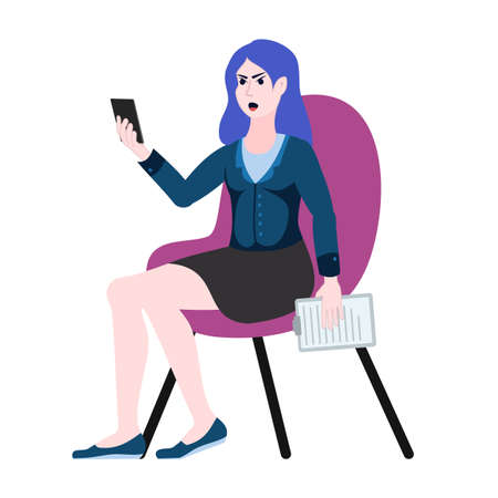 Business woman sits in a chair, gets angry and swears on the phone. Video communication via the Internet. Negative emotions, smartphone call. 矢量图像
