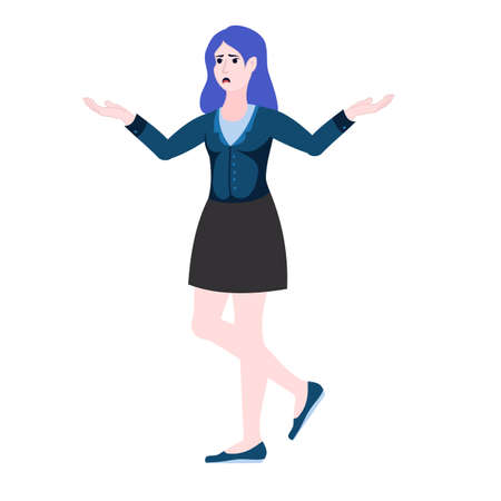 Confused, perplexed business woman. Choice at work, the problem is no solution. Illustration in a flat style.
