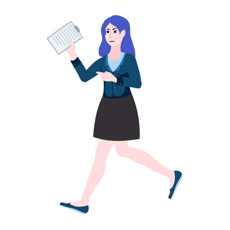 Business woman runs to hand over the report. Female at work is late with documents. Deadline 矢量图像