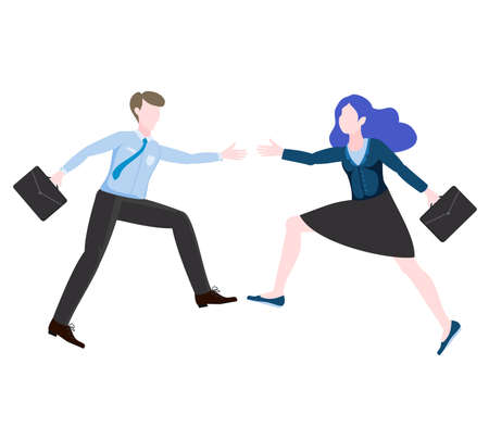 Business partners, woman and man are about to shake hands. Good deal illustration