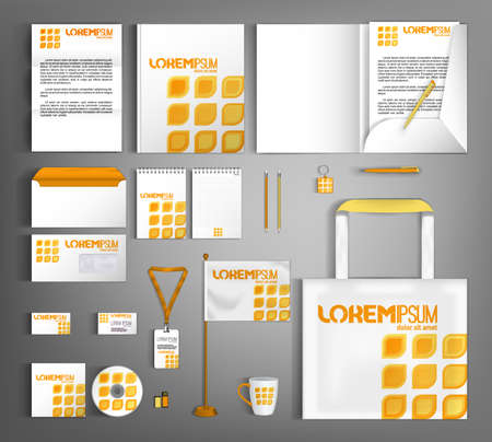 Corporate identity template design with spicy geometric element. Business branding stationery set.
