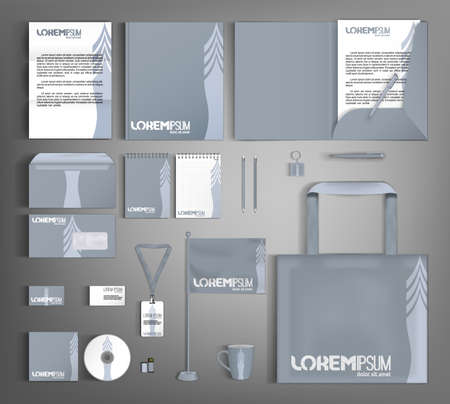 Gray design corporate identity template with creative arrow. Business branding stationery set.
