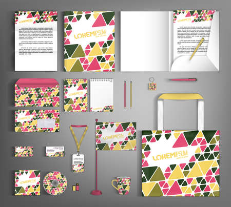 Corporate identity design template with multicolored geometric pattern. A set of stationery items for business branding. 矢量图像