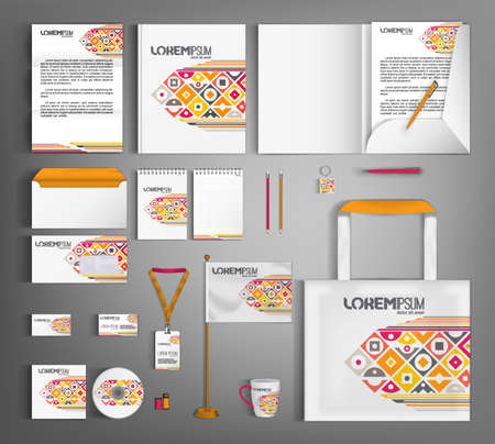 Corporate identity design template with multicolored geometric pattern. A set of stationery items for business branding. Vecteurs