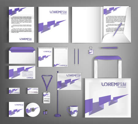 White design corporate identity template with purple arrow. Business branding stationery set.