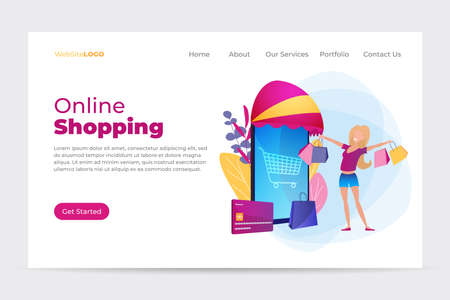 Landing page template with girl and shopping in front of smartphone. Online shopping. Sales promotion concept, loyalty program to attract customers.