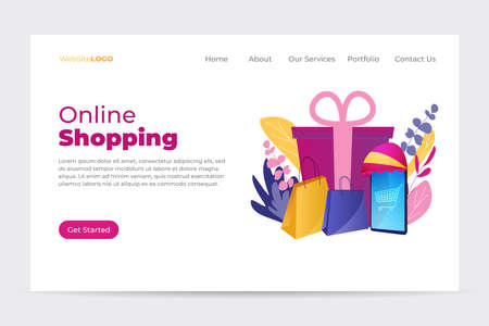 Landing page template with shopping in front of smartphone. Online shopping. Sales promotion concept, loyalty program to attract customers. 矢量图像